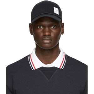 Thom Browne Navy Cotton Twill Baseball Cap
