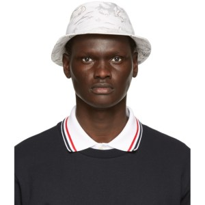 Thom Browne Grey Hawaiian Scene Classic Bucket Hat