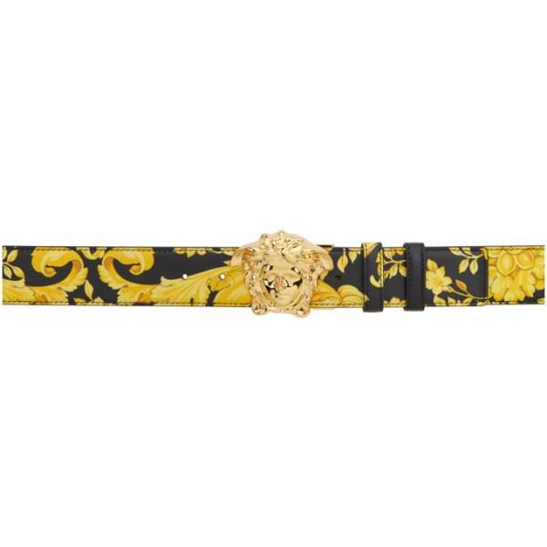 Versace Reversible Black and Gold Morocco Medusa Belt