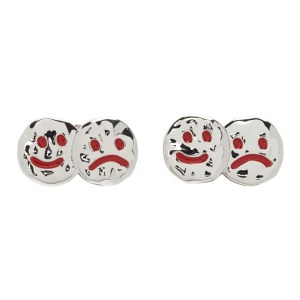 Jiwinaia Silver and Red Up and Down Earrings