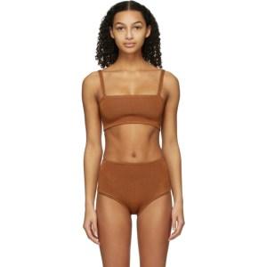 Calle Del Mar Orange Knit Bandeau Bikini Top