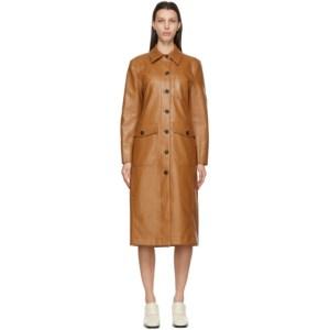 LVIR Brown Faux-Leather Patchwork Coat