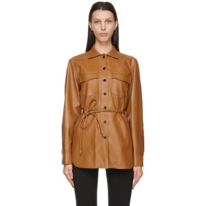 LVIR Brown Faux-Leather Oversized Belted Shirt