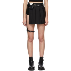 Hyein Seo SSENSE Exclusive Black Pleated Miniskirt