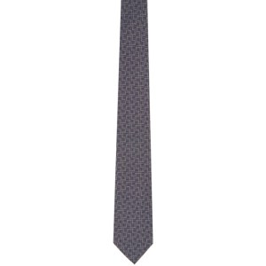 Dunhill Grey and Beige Silk Longtail Tie