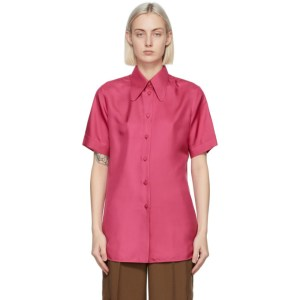 Gucci Pink Silk Short Sleeve Shirt