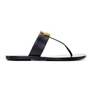 Gucci Black GG Marmont Sandals