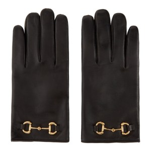 Gucci Black Leather Horsebit Gloves