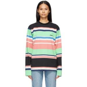 Awake NY Black Engineered Stripe Long Sleeve T-Shirt