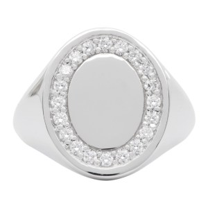 Hatton Labs Silver and White Topaz Oval Ring