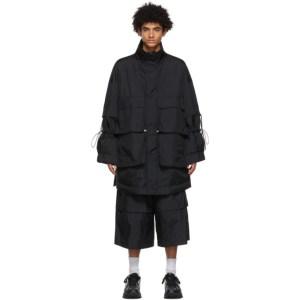 JERIH Black Detachable Pocket Coat