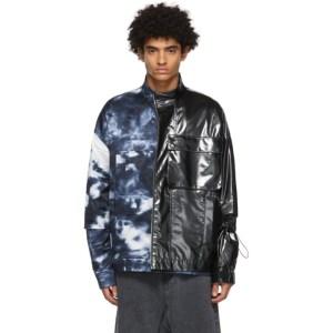 JERIH Black and Navy Tie-Dye Colorblock Jacket