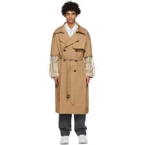 JERIH Beige Detachable Sleeve Trench Coat