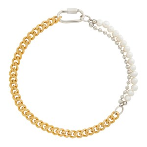 IN GOLD WE TRUST PARIS Gold and Silver Cuban Link Necklace