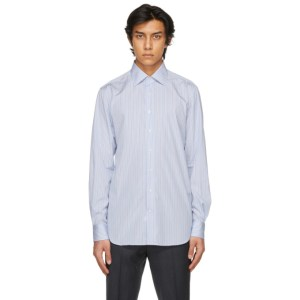Husbands Blue and White Striped Classic Collar Shirt