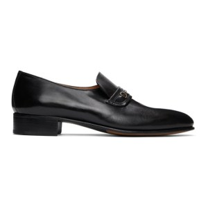 Husbands Black Nappa Strap Loafers