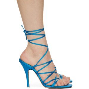 The Attico Blue Satin Lace-Up Heeled Sandals