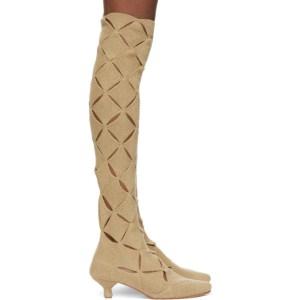 ISA BOULDER SSENSE Exclusive Beige Thigh-High Argyle Boots
