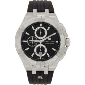 Maurice Lacroix Black and Silver Aikon Chronograph Watch