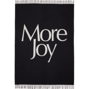 More Joy Black and White Merino Wool Logo Blanket