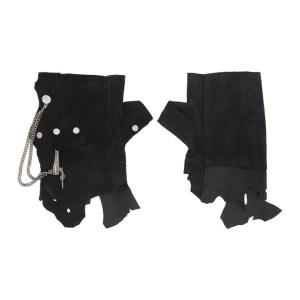 mastermind JAPAN Black C2H4 Edition Distressed Rivet Chain Gloves