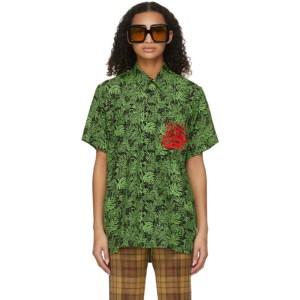 SSENSE WORKS SSENSE Exclusive Jeremy O. Harris Black and Green Rose Bowling Shirt