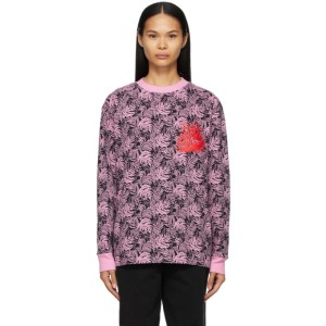 SSENSE WORKS SSENSE Exclusive Jeremy O. Harris Black and Pink Rose Long Sleeve T-Shirt