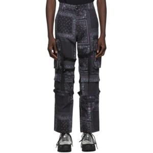 ROGIC Black and Purple Paisley Cargo Pants