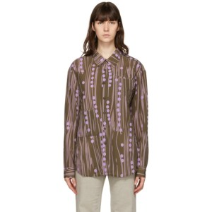 Kijun Brown and Purple Signature Dot Print Shirt