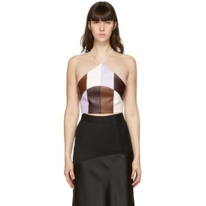 Kijun Purple and Brown Faux-Leather Triangle Top