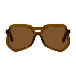 Grey Ant Brown Clip Hexagonal Aviator Sunglasses