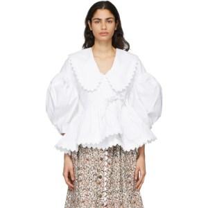 Kika Vargas White Shona Removable Collar Blouse