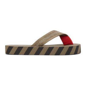 Off-White Taupe Industrial Flip Flop Sandals