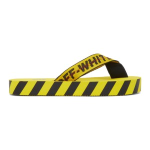 Off-White Yellow and Black Industrial Flip Flop Sandals