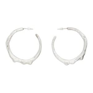 Hannah Jewett Silver Wet Look Hoop Earrings