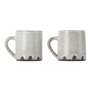Lily Pearmain SSENSE Exclusive Black and White Fingerprint Mug Set