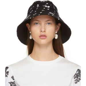 Erdem Black and White Bud Beach Hat
