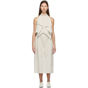 Lemaire White and Grey Sleeveless Foulard Dress