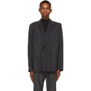 Lemaire Grey Belted Double-Breasted Blazer
