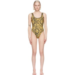 Versace Underwear Black and Yellow Barocco One-Piece Swimsuit