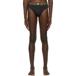 Versace Underwear Black Greca Border Swim Briefs