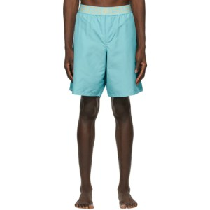 Versace Underwear Blue Greca Border Long Swim Shorts