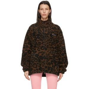VETEMENTS Brown Fleece Leopard Logo Jacket