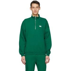 M.A. Martin Asbjorn Green Turtleneck Half-Zip Sweatshirt