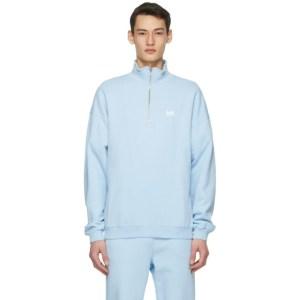 M.A. Martin Asbjorn Blue Turtleneck Half-Zip Sweatshirt