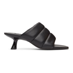 Simon Miller Black Vegan Leather Tee Heel Sandals
