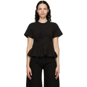 Marques Almeida Black Paneled Gathered T-Shirt