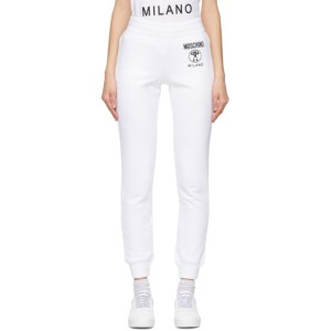 Moschino White Double Question Mark Lounge Pants