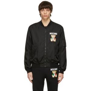 Moschino Black Italian Teddy Bear Bomber Jacket