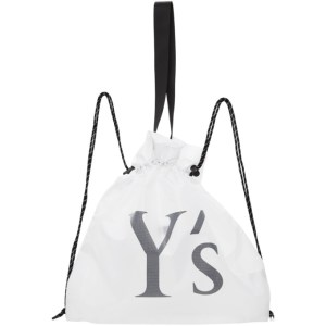 Ys White Nylon Logo Backpack